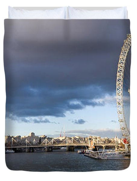 London Eye At South Bank, Thames River Duvet Cover by Panoramic Images