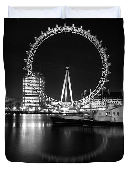 London Eye Mono Duvet Cover by Matt Malloy