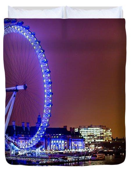 Duvet Cover featuring the photograph London Eye Night Glow by Matt Malloy