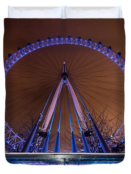Duvet Cover featuring the photograph London Eye Supports by Matt Malloy