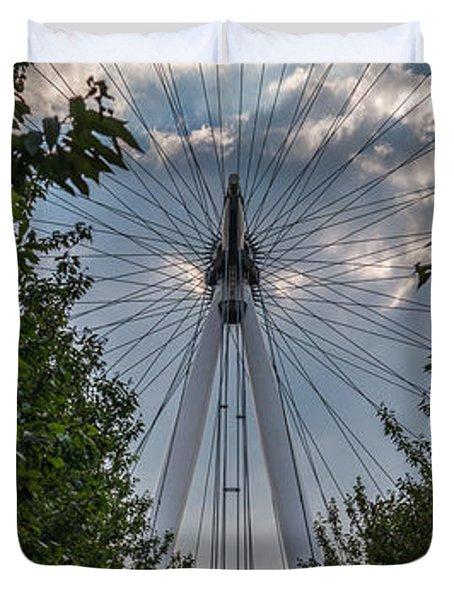 Duvet Cover featuring the photograph London Eye Vertical Panorama by Matt Malloy