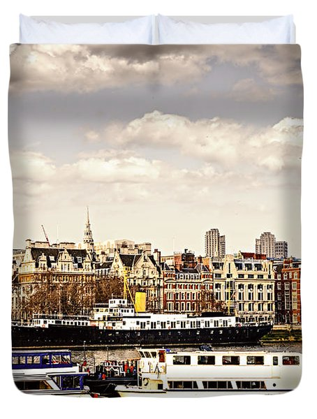 London From Thames River Duvet Cover by Elena Elisseeva