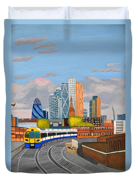 Duvet Cover featuring the painting London Overland Train-hoxton Station by Magdalena Frohnsdorff