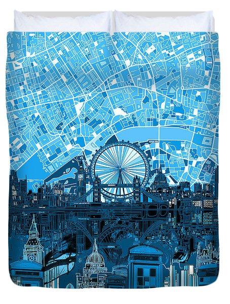 London Skyline Abstract Blue Duvet Cover