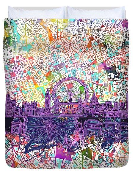 London Skyline Abstract Duvet Cover