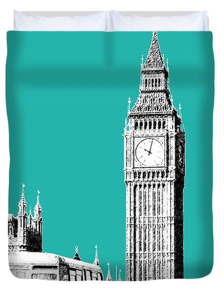 London Skyline Big Ben - Teal Duvet Cover