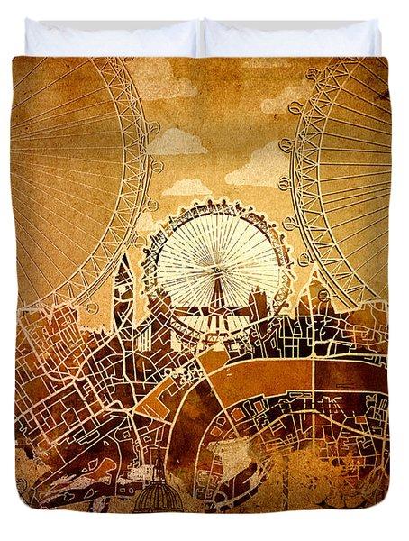 London Skyline Old Vintage  Duvet Cover
