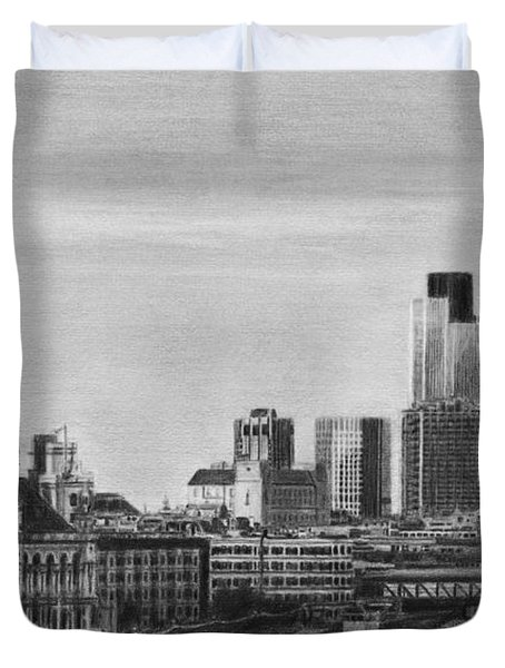 London Skyline Pencil Drawing Duvet Cover