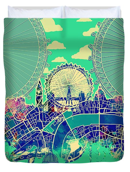London Skyline Vintage 2 Duvet Cover