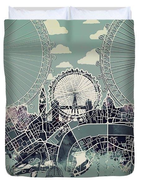 London Skyline Vintage Duvet Cover
