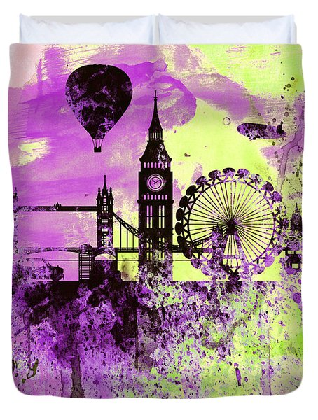 London Skyline Watercolor 1 Duvet Cover by Naxart Studio