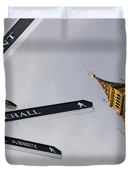 London Street Signs Duvet Cover by David Smith