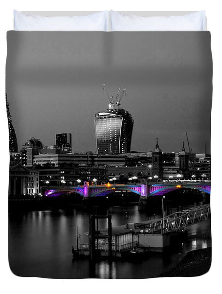 London Thames Bridges Bw Duvet Cover