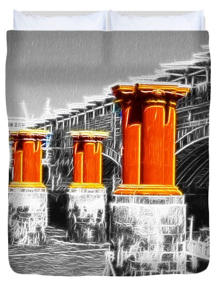 London Thames Bridges Fractals Duvet Cover by David French