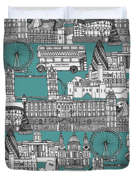 London Toile Blue Duvet Cover by Sharon Turner