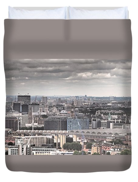 London Under Grey Skies Duvet Cover by Rona Black