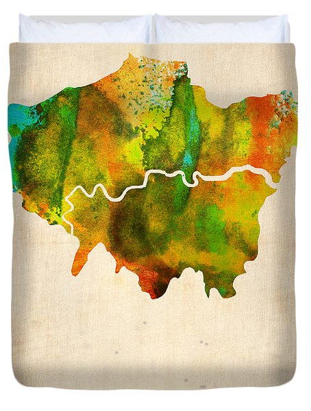 London Watercolor Map 1 Duvet Cover by Naxart Studio