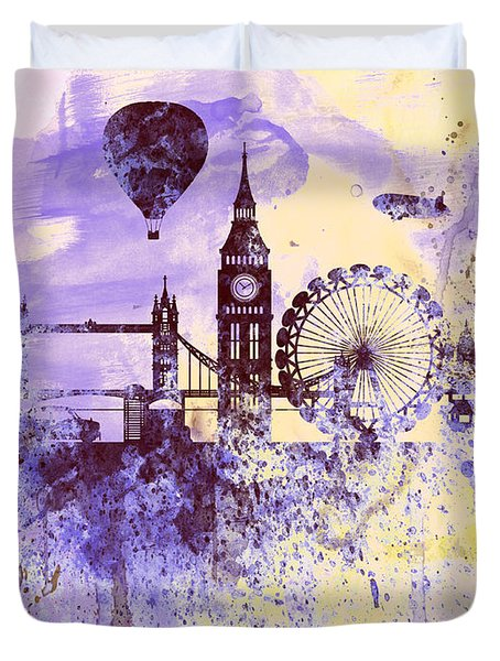London Watercolor Skyline Duvet Cover by Naxart Studio