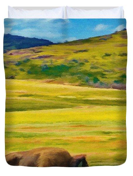 Lone Buffalo Duvet Cover by Jeffrey Kolker