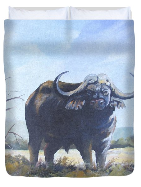 Duvet Cover featuring the painting Lone Bull by Anthony Mwangi