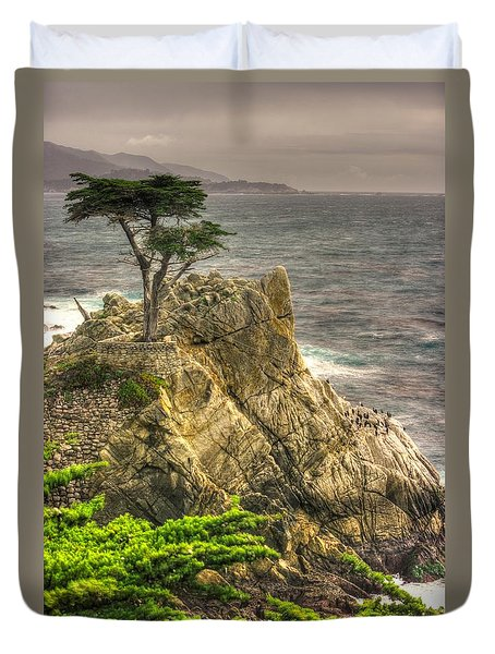 Lone Cypress On The Monterey Peninsula - No. 1 Looking Across Carmel Bay Spring Mid-afternoon Duvet Cover by Michael Mazaika