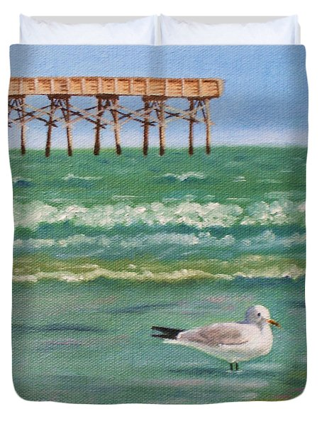 Lone Gull A-piers Duvet Cover