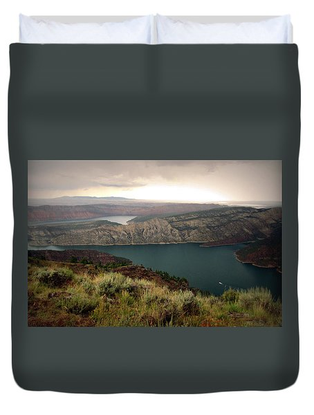 Duvet Cover featuring the photograph Lone Houseboat by Katie Wing Vigil