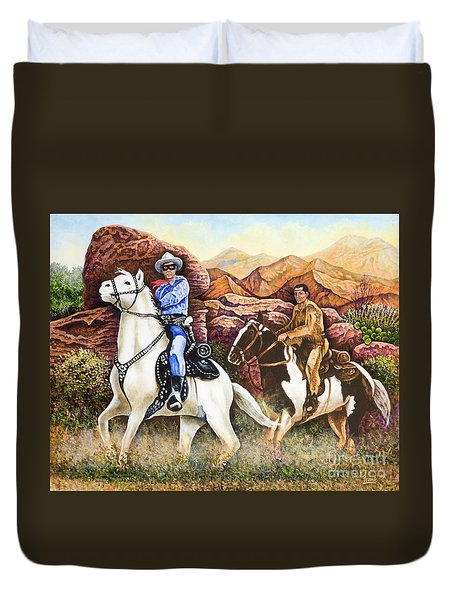 Lone Ranger And Tonto Ride Again Duvet Cover