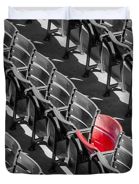 Duvet Cover featuring the photograph Lone Red Number 21 Fenway Park Bw by Susan Candelario