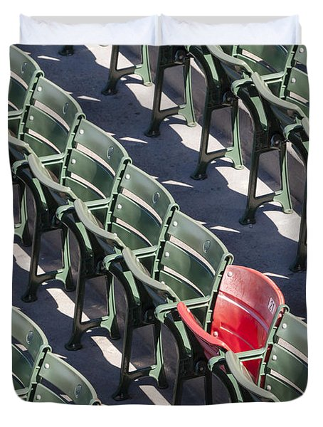 Duvet Cover featuring the photograph Lone Red Number 21 Fenway Park by Susan Candelario