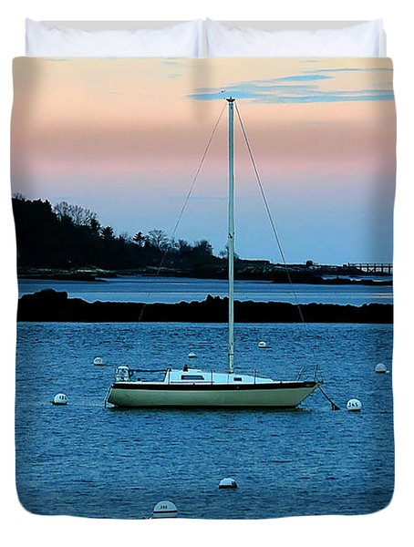 Lone Sailboat At York Maine Duvet Cover