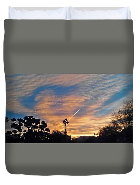 Lone Sentry Morning Sky Duvet Cover by Jay Milo