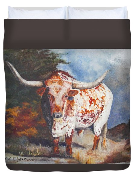 Duvet Cover featuring the painting Lone Star Longhorn by Karen Kennedy Chatham