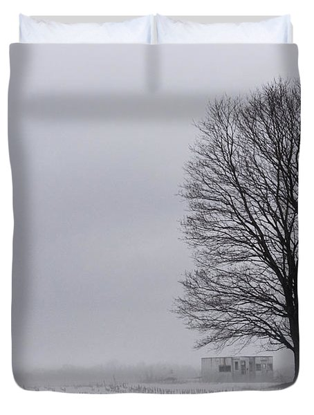 Lone Tree In The Fog Duvet Cover