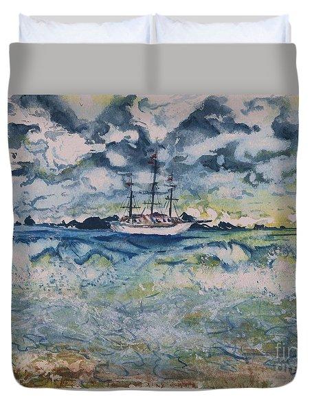 Lone Vessel  Duvet Cover