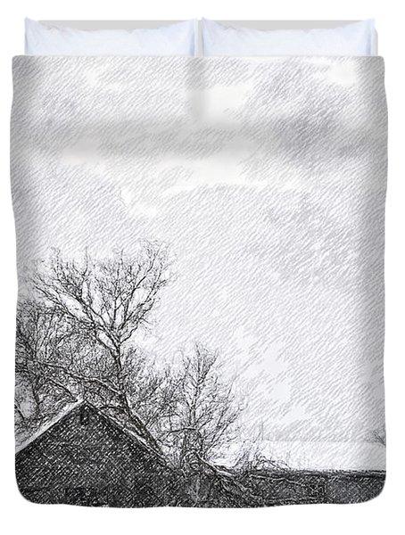 Loneliness Sketch Duvet Cover by Steve Harrington