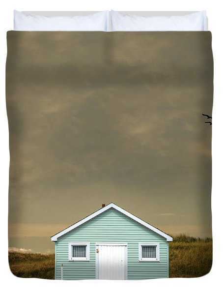 Lonely Beach Shack Duvet Cover by Edward Fielding