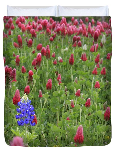 Duvet Cover featuring the photograph Lonely Bluebonnet by Jerry Bunger