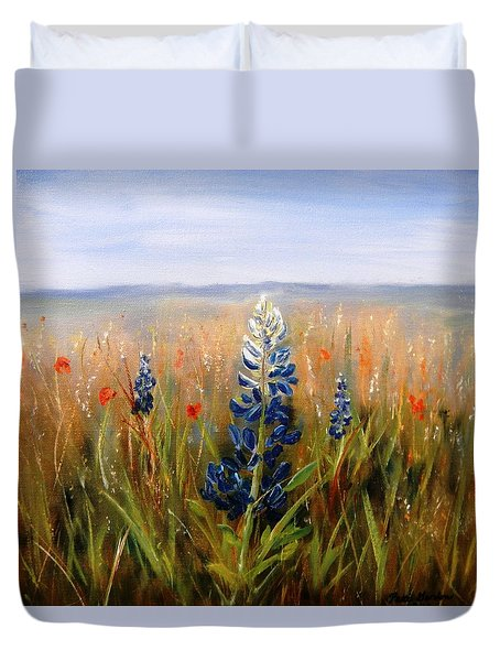 Lonely Bluebonnet Duvet Cover