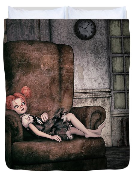Lonely Gothic Doll Duvet Cover by Jutta Maria Pusl