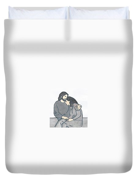 Lonely Meets God Duvet Cover