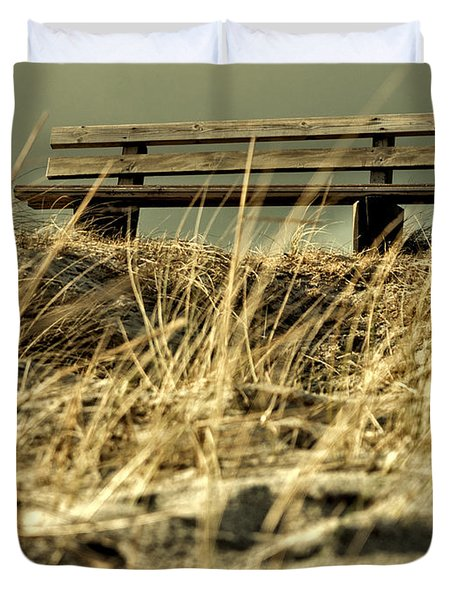 Lonely Bench Duvet Cover by Mike Santis