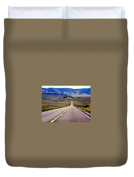 Duvet Cover featuring the photograph Lonely Road by Antonia Citrino