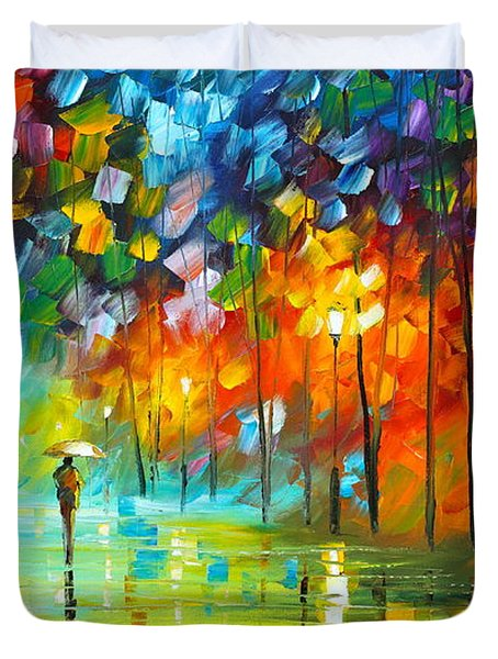 Lonely Stroll 3 Duvet Cover by Leonid Afremov