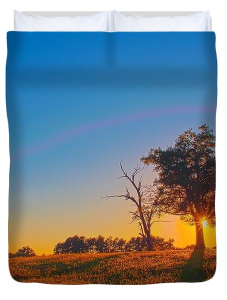 Duvet Cover featuring the photograph Lonely Tree On Farmland At Sunset by Alex Grichenko
