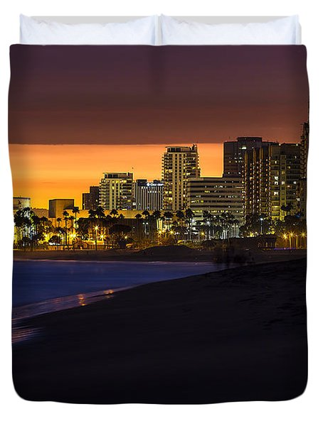 Long Beach Comes Alive At Dusk By Denise Dube Duvet Cover