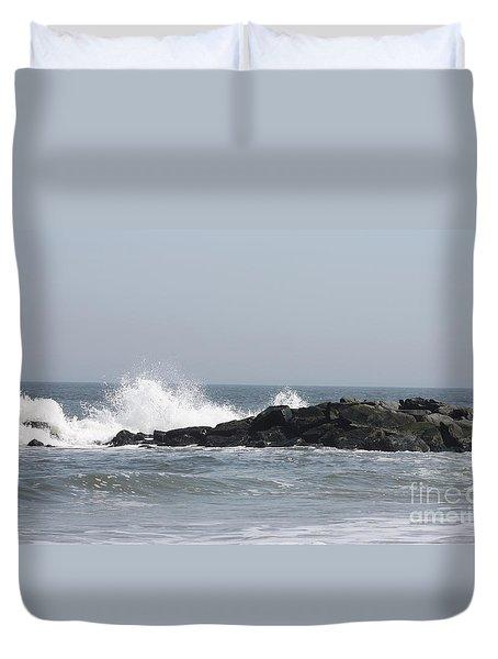 Long Beach Jetty Duvet Cover by John Telfer