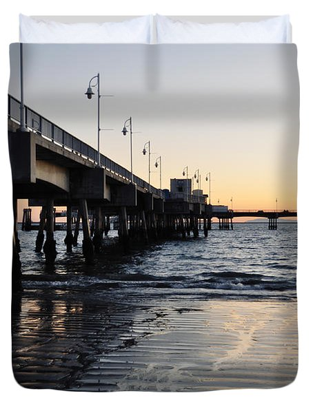 Duvet Cover featuring the photograph Long Beach Pier by Kyle Hanson