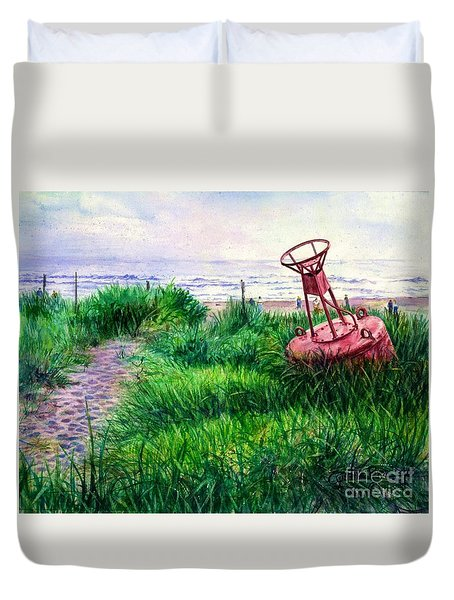Long Beached Buoy Duvet Cover