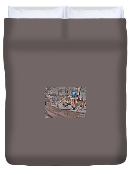 Long Grove In Snow Duvet Cover